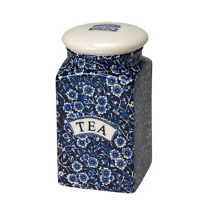 Blue Calico Tea Storage Jar U.K. Made by Burgess & Leigh - Burleigh