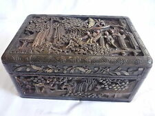 Antique chinois en bois sculpté photo bijoux bijou box