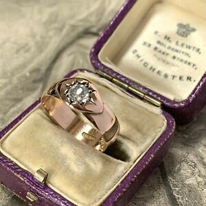 Art Deco 9ct Rose Gold Ring 4.2gm White Sapphire Star Gypsy Set Wedding Band,