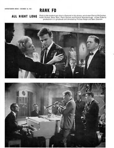 Film Trade Pages (2) All Night Long 1961 Rank Patrick McGoohan Keith Michell