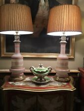 Unusual Pair Of Large Antique Painted And Decorated Glass Table Lamps