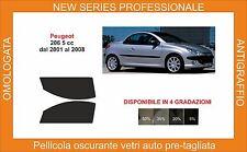 pellicola oscurante vetri pre tagliata peugeot 206 cc  dal 2001 al 2008