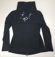 Nordstrom Zella Full Zip Jacket Floral Embroidered Back Athleisure Black Medium