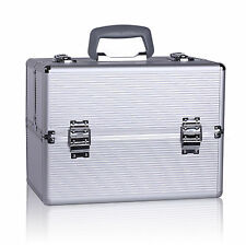 Pro Makeup Train Case Aluminum Jewelry Box Cosmetic Organizer Storage Lockable 2