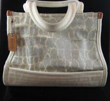ECHO Gray & Creme 100% Cotton Canvas Casual Ladies Purse/Handbag