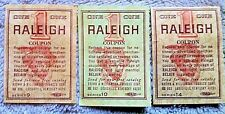 Vintage Raleigh cigarettes coupons circa early 70s--lot of 3--new unused