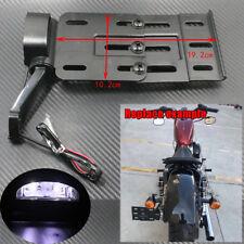 Telescopic Folding LED Light Side Mount License Plate Bracket For Harley 2004UP