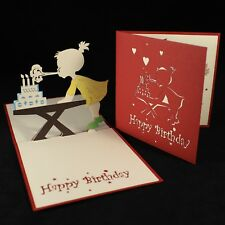 POP UP 3D birthday card - girl at her cake table
