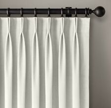 "Restoration Hardware Velvet French-Pleat Curtain Panel White 46""W x 108""L"