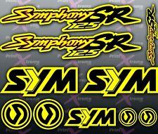 Sym Symphony SR 125 YELLOW RED BLACK Stickers / Decals autocollant aufkleber