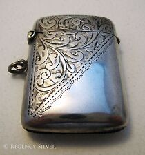 QUALITY Solid Sterling Silver English Vesta Match Case Box Victorian/Edwardian