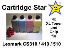 Set 4x XL Nachfülltoner und Reset Chip für Lexmark CS310 CS410 CS510 (13000 S.)