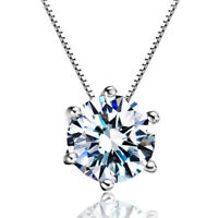 925 Sterling Silver 8MM Natural Zircon Pendant Necklace Women Fashion Jewellery