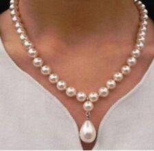 MUSCHELKERNPERLEN Kette  8 - 13 mm Kette Collier Muschelkern perlen weiß