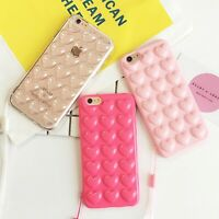 Fashion Candy Color Silicon Back Cover 3D Love Heart Phone Cases With Lanyard