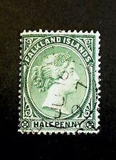 """Falkland Islands 1891-1902 1/2d Green Used, Cancelled With 1897 """"Andrews type 7"""""""