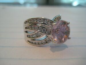 Sterling Silver CZ Clear/Light Pink Ring PAJ size 7 ~beautiful~