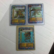 Lot Of 3 Vintage Bandai 1999 Digimon Holo Foil 1st editions Saberlemon Hercules