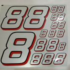 REFLECTIVE SILVER W RED/BLK Racing #8's vinyl Decal Sheet1/8-1/10-1/12 RC Modelx