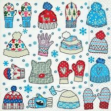 4 x Single Paper Napkins/3 Ply/Decoupage/Craft/Christmas/Mittens and Beanies