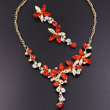 New Diamond Crystal Rhinestone Red Flower Pendant Necklace Earrings Jewelry Set