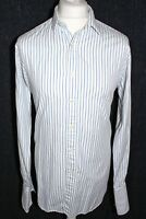T.M.LEWIN Mens Blue Striped Long Sleeved Double Cuffed Shirt 16.5 42
