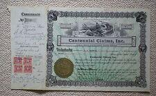 Centennial Claims Inc share certificate