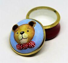 New listing Halcyon Days Enamel Box - 3 Dimensional Teddy Bear - Bow Tie & Polka Dots - Mib