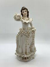 Victorian Porcelain Lady Figurine Statue Large Hand Painted Relco French gilt