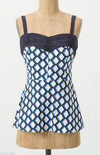NWT Anthropologie Girls From Savoy Blue & White Apiary Tank Top Blouse Size 0 XS