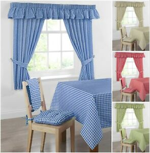 Gingham Check Curtains Kitchen Pure Cotton Readymade Pair Oven Glove Seat Pads