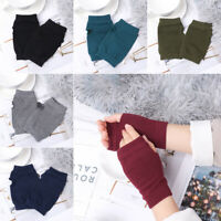 Warm Fingerless Exposed Finger Half Mitten Knitted Wool Glove Wrist Gloves