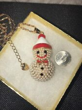 Betsey Johnson Necklace SNOWMAN PEARLS Gold CRYSTALS HOLIDAY CHRISTMAS