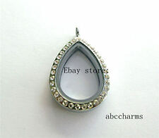 wholesale 5pcs lot crystal tear drop floating lockets fit for floating charms