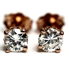 GIA certified SI1 H womens New 14k rose gold diamond .62ct stud earrings estate