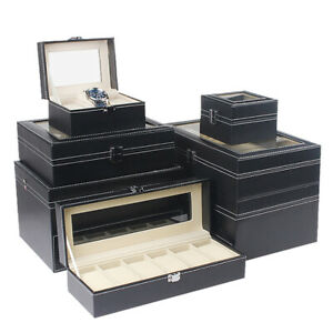 2/3/6/10/12/20/24 Slots Watch Storage Box Leather Display Case Organizer Jewelry