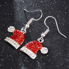 Fashion Christmas Xmas Crystal Red Santa Hat Stud Earrings Dangle Jewelry Gift