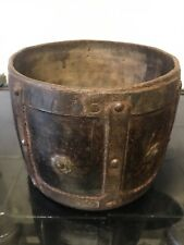 Antique Leather /wood/metal Bucket ,bowl Planter with Studs