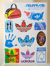 A4 SET OF 12 adidas Original Shoes Logo Vintage Retro Waterproof Decal Stickers
