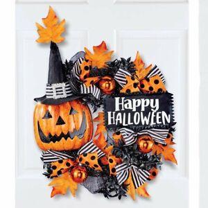 """Happy Halloween"" Jack O' Lantern Glittery Bow & Ornaments Welcome Door Wreath"