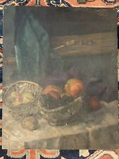 "Antique French Impressionist Still Life with Fruit Oil Painting 19 5/8"" X 15 7/8"