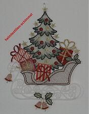 PLAUENER SPITZE Fensterbild SCHLITTEN Fensterbilder TANNENBAUM Weihnachten NEU