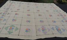 """Stunning Vintage Hand Embroidered Linen Tablecloth Drawn Thread 48"""" x 54"""""""