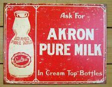 Akron Pure Milk TIN SIGN metal vintage dairy farmhouse country wall decor 1841