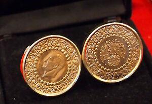 TURKISH KEMAL ATATURK PURE GOLD CUFFLINKS C 2003 LARGE GOLD COINS.23.2 GRAMS