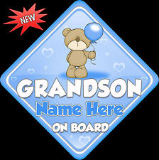 Personalised Grandson Baby/ child on Board Car Window Sign New!tedballoon