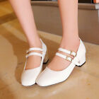 Womens Mary Janes Buckle Cute Boat Cuban Heel PU Patent Leather Plus Size Shoes