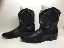 #C Mens David'S Western Roper Smooth Ostrich Leather Black Boots Size ?