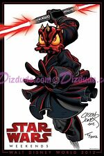 DISNEY 2 Artist Signed STAR WARS WEEKENDS 2012 DONALD DUCK as DARTH MAUL POSTER