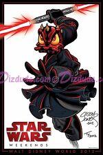DISNEY 2 Artist Signed STAR WARS WEEKENDS 2012 POSTER DONALD DUCK as DARTH MAUL
